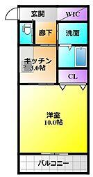 ル・リオン楓 2階1SKの間取り