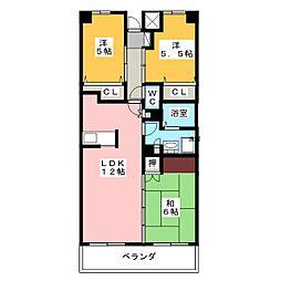 クレストコート門田[1階]の間取り