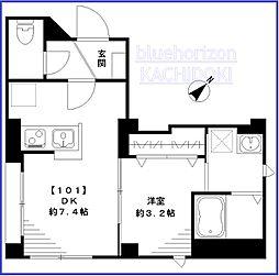東京メトロ有楽町線 月島駅 徒歩3分の賃貸マンション 1階1DKの間取り