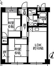 川西ハイツ[3階]の間取り