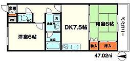 メゾンサーバン 5階2DKの間取り