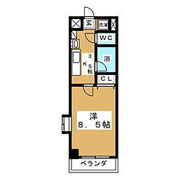 カリンマンション[4階]の間取り