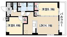 愛知県名古屋市緑区鳴海町字細根の賃貸マンションの間取り
