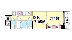 兵庫県神戸市兵庫区三川口町1丁目の賃貸マンションの間取り