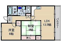 モナミ新堂[3階]の間取り