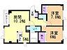 間取り,2LDK,面積59.49m2,賃料4.9万円,バス 函館バス浜分小学校前下車 徒歩4分,,北海道北斗市追分1丁目17番4号