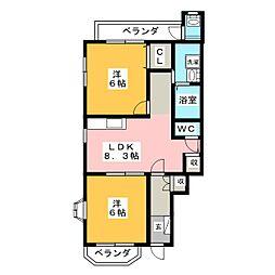 レオパルド21[1階]の間取り