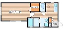 仙台市地下鉄東西線 大町西公園駅 徒歩8分の賃貸アパート 1階1Kの間取り
