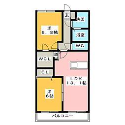ベルフラワー参番館[2階]の間取り