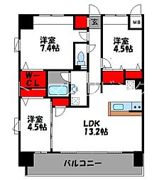 JR鹿児島本線 千早駅 徒歩4分の賃貸マンション 10階3LDKの間取り