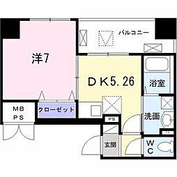 東京メトロ日比谷線 築地駅 徒歩8分の賃貸マンション 3階1DKの間取り