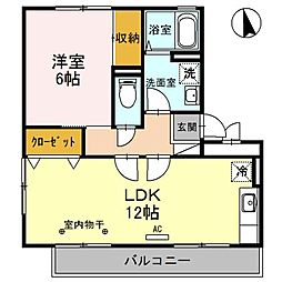 大阪府堺市北区黒土町の賃貸アパートの間取り