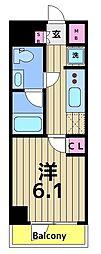 GENOVIA 綾瀬 skygarden 5階1Kの間取り