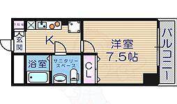 プレミアム西田辺 7階1Kの間取り