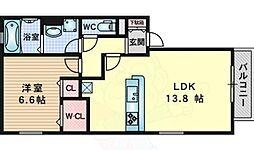 パインズヒル 2階1LDKの間取り