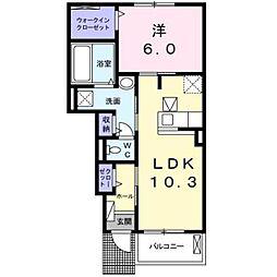 JR東海道本線 平塚駅 バス18分 片岡下車 徒歩6分の賃貸アパート 1階1LDKの間取り