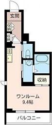 ヴィランデB 2階ワンルームの間取り