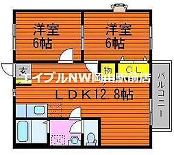 岡山県岡山市東区鉄丁目なしの賃貸アパートの間取り