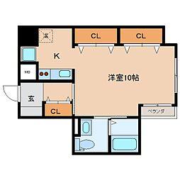 静岡県静岡市葵区駒形通1丁目の賃貸マンションの間取り