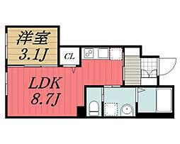 JR京葉線 蘇我駅 バス12分 仁戸名局前下車 徒歩5分の賃貸アパート 1階1LDKの間取り