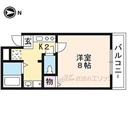 京都地下鉄東西線 二条駅 徒歩15分の賃貸マンション 2階1Kの間取り