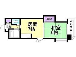 オルゴグラート札幌 3階1DKの間取り