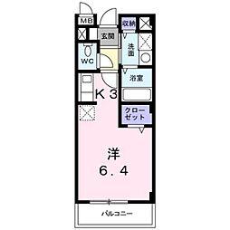 横浜市営地下鉄ブルーライン 上永谷駅 徒歩8分の賃貸アパート 2階1Kの間取り