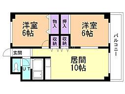 ローヤルハイツ西岡(旧五輪通ビル) 2階2LDKの間取り