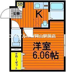 岡山県岡山市中区原尾島2丁目の賃貸アパートの間取り
