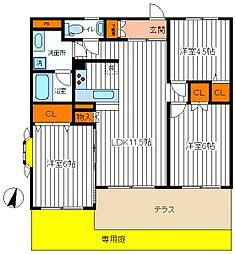 東京都国分寺市西町3丁目の賃貸マンションの間取り