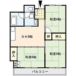 南薫ハイツ[4階]の間取り
