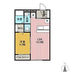 仙台市営南北線 長町駅 徒歩7分の賃貸マンション 2階1LDKの間取り