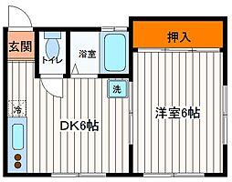 東京都日野市栄町1丁目の賃貸アパートの間取り