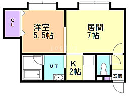 FOREST栄通A(フォーレスト) 1階1LDKの間取り