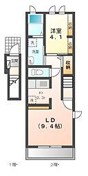 愛知県名古屋市緑区大高町字一番割の賃貸アパートの間取り
