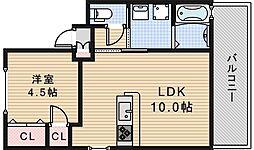 Osaka Metro御堂筋線 北花田駅 徒歩18分の賃貸マンション 3階1LDKの間取り