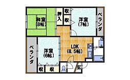 カーサNAKAMURAII[401号室]の間取り