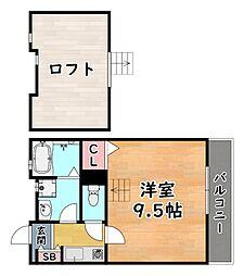 阪急神戸本線 王子公園駅 徒歩9分の賃貸アパート 2階1Kの間取り