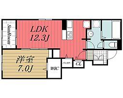 北総鉄道 印西牧の原駅 徒歩25分の賃貸アパート 1階1LDKの間取り