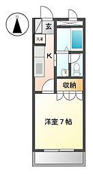 愛知県長久手市上川原の賃貸アパートの間取り