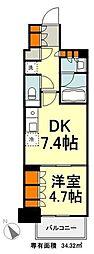 東京メトロ有楽町線 豊洲駅 徒歩9分の賃貸マンション 7階1DKの間取り
