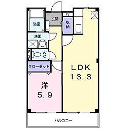 JR阪和線 北信太駅 徒歩9分の賃貸マンション 2階1LDKの間取り