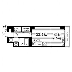 Uni Eterna 仙台角五郎 1階1DKの間取り