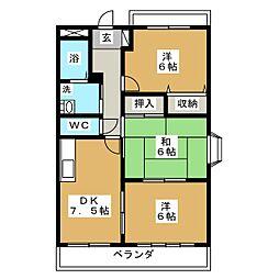 ブルースカイマンションII[1階]の間取り