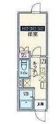 グランテージ鶴ヶ島 3階1Kの間取り