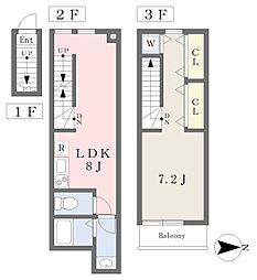 小田急小田原線 祖師ヶ谷大蔵駅 徒歩6分の賃貸アパート 2階1LDKの間取り