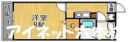 福岡市地下鉄七隈線 福大前駅 徒歩11分の賃貸アパート 1階1Kの間取り