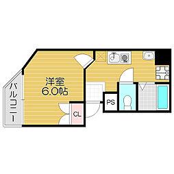 京阪本線 守口市駅 徒歩3分の賃貸マンション 6階1Kの間取り
