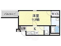 フジパレス豊里5番館 1階1Kの間取り