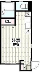 CASA北鎌倉 2階ワンルームの間取り